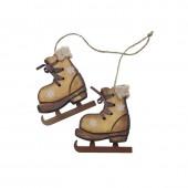 Wooden skates, 8.5x9.5x1.5cm brown