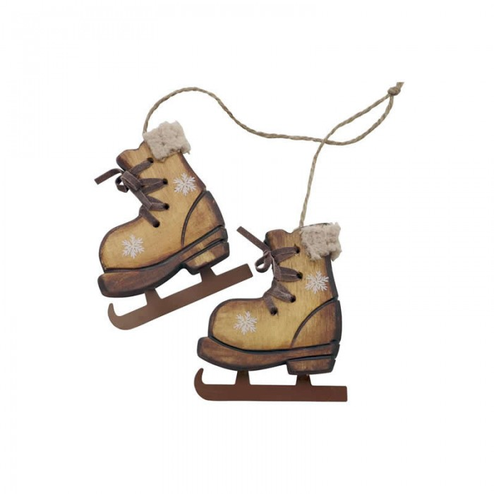 Wooden skates, 8.5x9.5x1.5cm brown