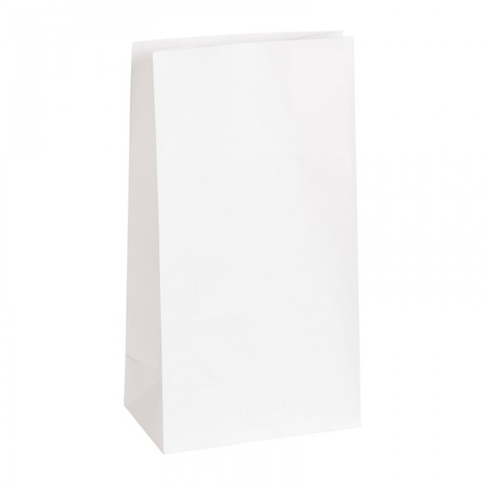 Paper bags white, 240 x 130 x 75 mm blanc, 25 pcs