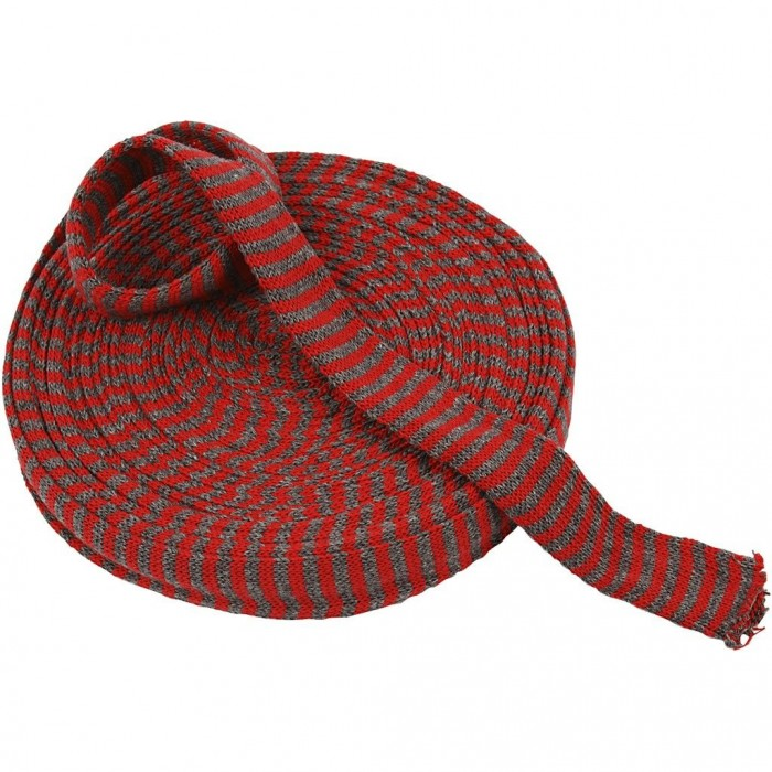 Knitted Tube, red/grey, 30mm, 10m