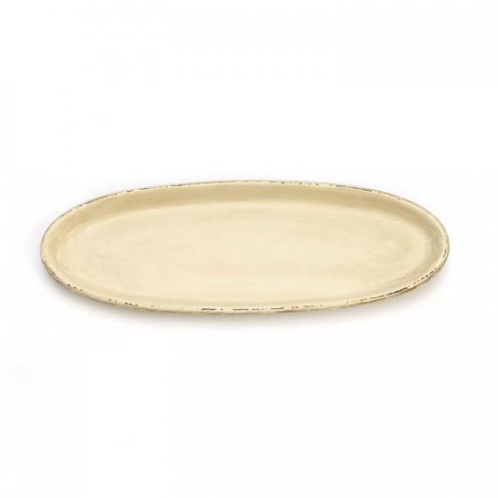 Oval long dish 39x14cm, cream