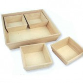 Wooden Tray with 4 boxes