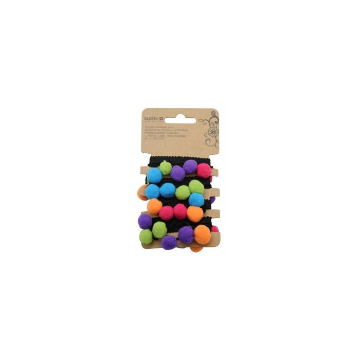 Pompom tape blck/multicolor, 1m