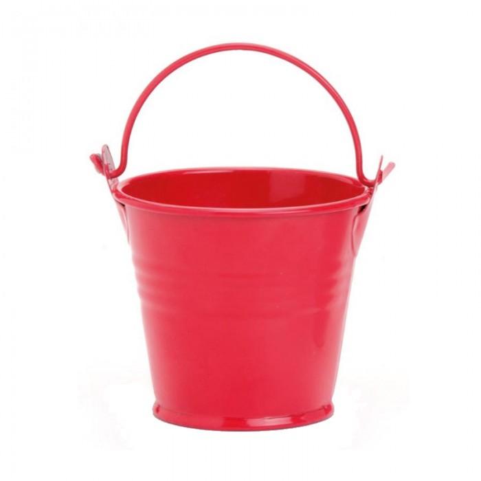 Metal Bucket 6x6cm red
