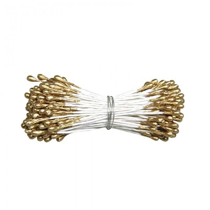 Pistils, 2mm, gold, 288 heads