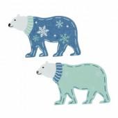 Wooden bear, blue, 4.2x2.4x0.1cm, 6 pcs