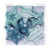 Metallic star, blue, 4x4x1cm, 6 pcs