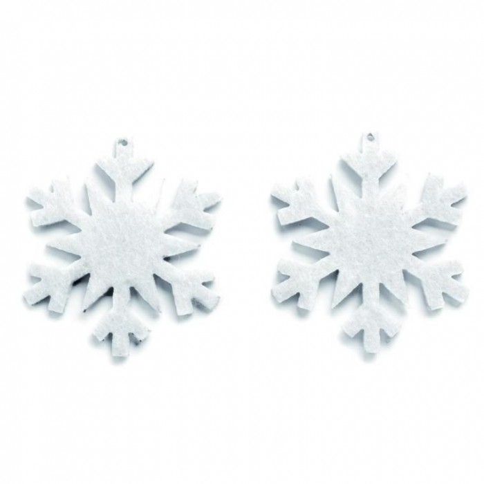 Felt snowflakes 6cm, white, 5 pcs