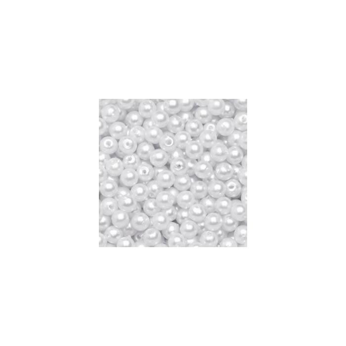 Decoration beads, 8mm, 75g, white