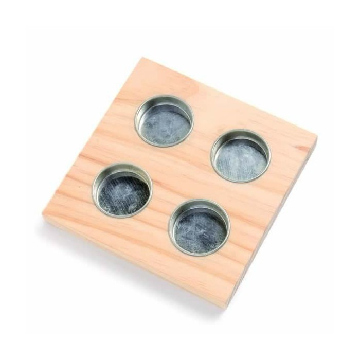 Wooden candle holder, square 15x15cm