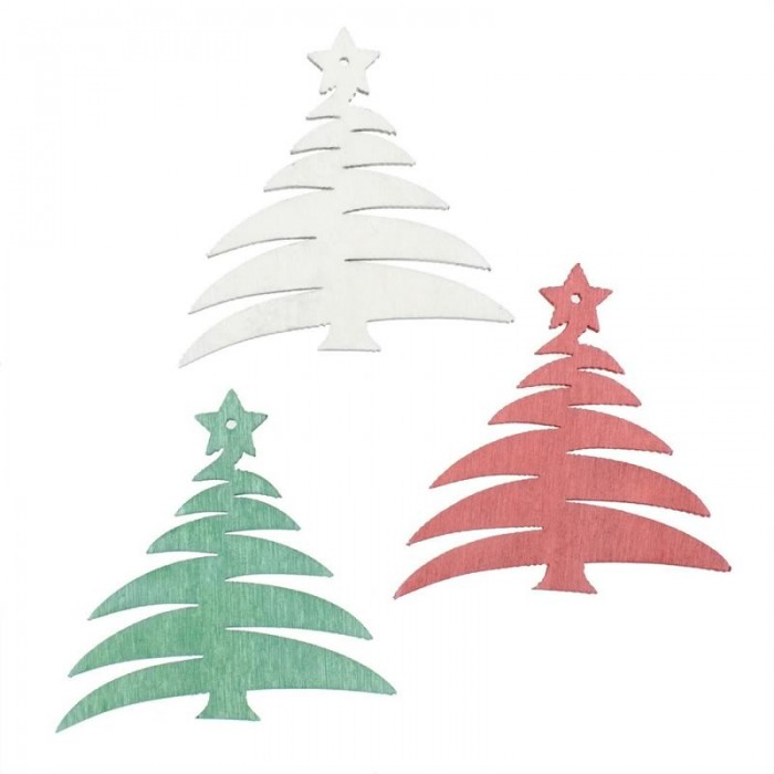Wood.Trees white / green / red, 12 pcs
