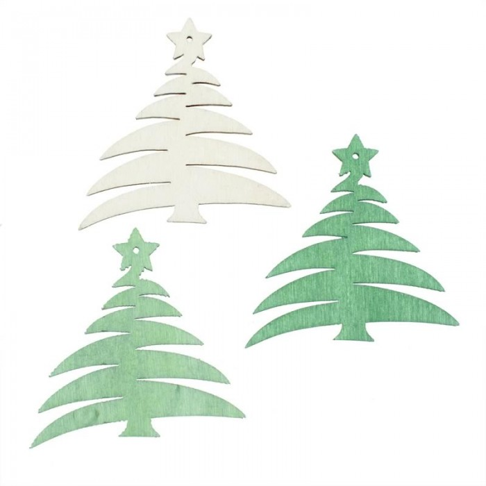 Wood.Trees white / green / light green, 12 pcs
