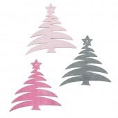Wood.Trees pink / rose / grey, 12 pcs