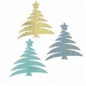 Wood.Trees blue / turquese / gold, 12 pcs