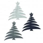 Wood.Trees grey/silver/black, 12 pcs