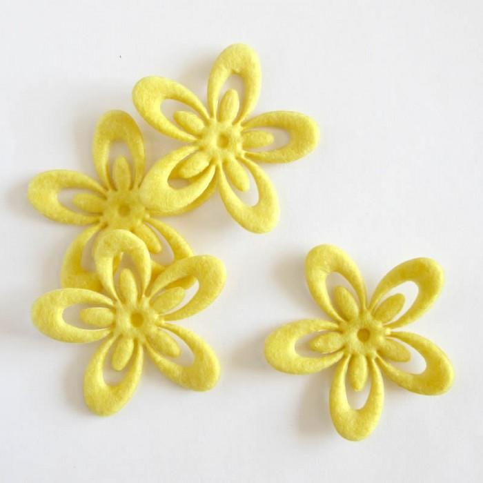 Felt flowers 52mm, yellow, 4 pcs