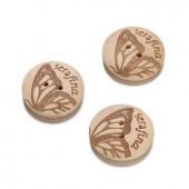 Serafina Wooden buttons, Ø25mm, 3 pces