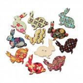 Wooden Buttons Rabbit, 3cm, 10 pcs