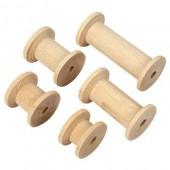 Wooden spools, assorted, 10 pcs