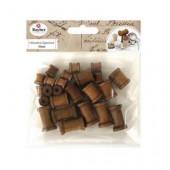 Wooden spools, dark brown, assorted, 24 pcs