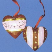 """Pendentif en métal """"coeur"""", 2 pièces"""