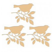 Wooden bird  10cm, 3 pcs