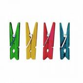 Mini pincettes en bois, colorées, 2.5cm
