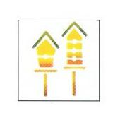 Stencil Birdhouses 10x10cm