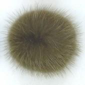 Boule fausse fourrure, +/- 4cm, olive