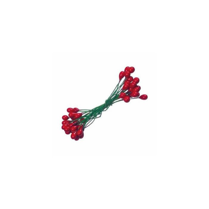 Ilex berries, 6mm, 24 pces, red