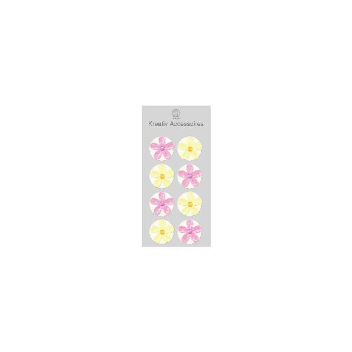 Ursus Kreativ - Fabric blossoms pink/cream, 2.5cm, 8 pces