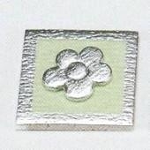 Soft deco fleur, vert/argent, 4x4cm, 1 pce
