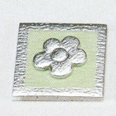 Soft deco flower, green/silver, 4x4cm, 1 pce