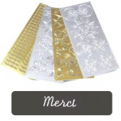 "Stickers text, silver, ""Merci"""