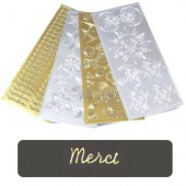"Stickers text, gold, ""Merci"""