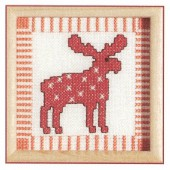 Kit reindeer with wooden frame, 9x9cm