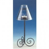 Support en métal avec verre (photophore) 28cm