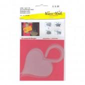 Plastic tag heart, 4 pces