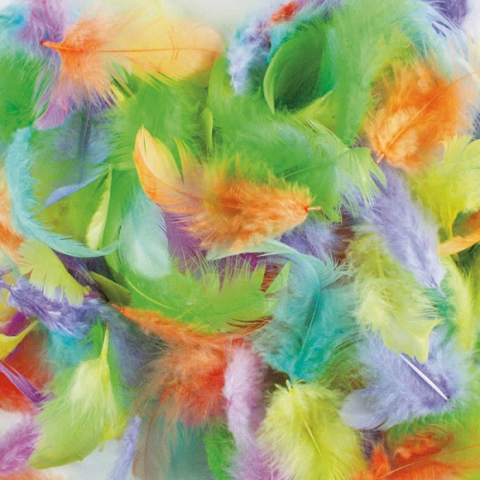 Mix of pastel feathers, 3-10cm, 10g