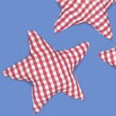 Etoile en tissu vichy rouge 6cm