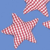 Fabric star red-white, 6cm