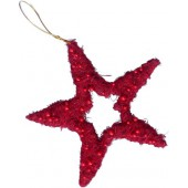 Star with beads, red, 18cm
