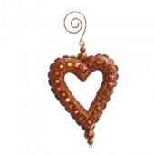 Decorative heart, strass/brown, 10cm