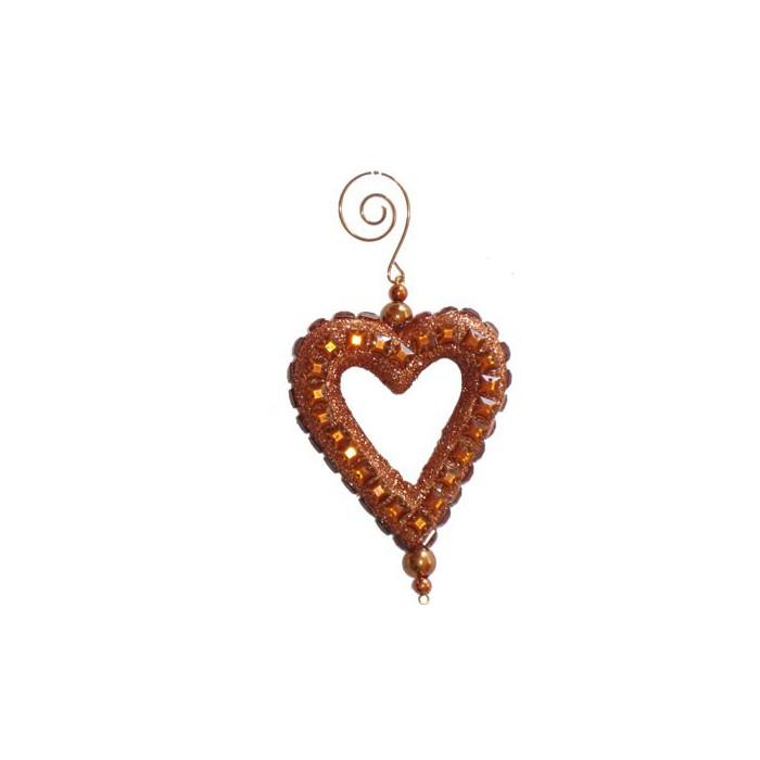 Decorative heart, strass/brown, 10cm