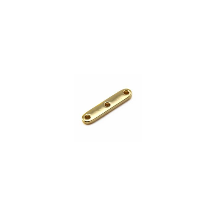 3-Strand Bead Separator Bar, 25mm, color gold, 12 pces
