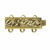 3-Strand Clasp, 6x18.8mm, 24 carat gold plated