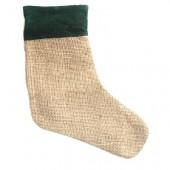 Jute boot, green border, 26cm