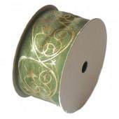 Ornament ribbon green, 40mm/3m