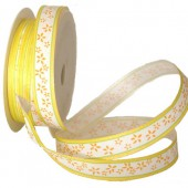 Yellow Ribbon with flowers, 15mm/1m