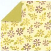 Papier beige, fleurs jaunes